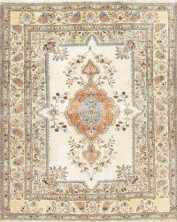 Floral Tabriz Tabatabaie Persian Hand-Knotted 5x6 Ivory Area Rug