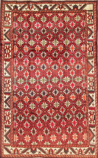 Geometric Red Lori Persian Hand-Knotted 5x8 Wool Area Rug