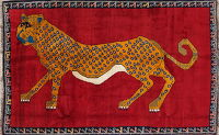 Animal Pictorial Red Gabbeh Persian Hand-Knotted 4x7 Wool Area Rug