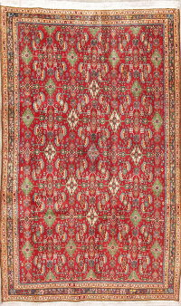 Vegetable Dye Red Kashkoli Persian Hand-Knotted 4x7 Wool Area Rug