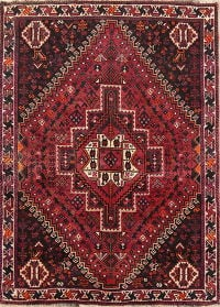 Tribal Geometric Shiraz Persian Hand-Knotted 4x5 Wool Area Rug