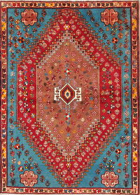 Vegetable Dye Tribal Abadeh Persian Hand-Knotted 4x6 Wool Area Rug