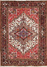 Tribal Geometric Heriz Persian Hand-Knotted 5x7 Wool Area Rug