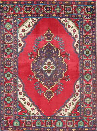 Geometric Red Tabriz Persian Hand-Knotted 4x6 Wool Area Rug