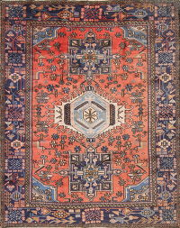 Coral Geometric Tribal Gharajeh Persian Hand-Knotted 6x7 Wool Area Rug
