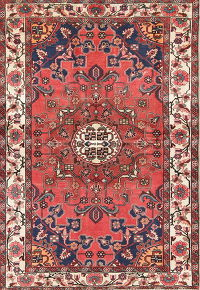 Geometric Red Malayer Persian Hand-Knotted 4x6 Wool Area Rug