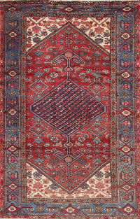 Geometric Red Malayer Persian Hand-Knotted 4x7 Wool Area Rug