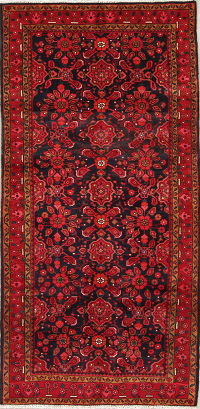 Floral Red/Navy Hamedan Persian Hand-Knotted 4x8 Wool Runner Rug