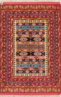 Geometric Bokhara Pakistan Oriental Hand-Knotted 4x7 Wool Area Rug
