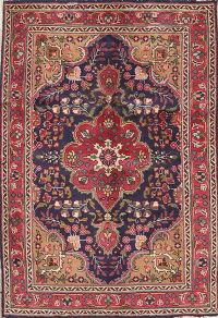Navy Blue Floral Tabriz Persian Hand-Knotted 3x5 Wool Rug