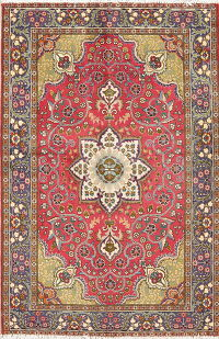 Floral Red Tabriz Persian Hand-Knotted 3x5 Wool Rug