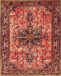 Geometric Coral Red Heriz Persian Hand-Knotted 4x5 Wool Area Rug