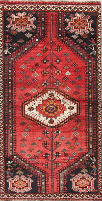 Geometric Red Shiraz Persian Hand-Knotted 3x6 Wool Runner Rug