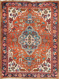 Floral Orange Heriz Persian Hand-Knotted 4x5 Wool Area Rug
