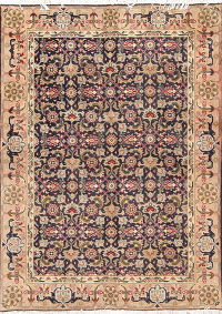 Geometric Ardebil Persian Hand-Knotted 4x5 Wool Area Rug