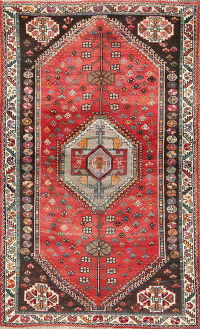 Tribal Geometric Abadeh Persian Hand-Knotted 4x6 Wool Area Rug