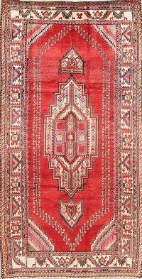 Geometric Red Shiraz Persian Hand-Knotted 4x8 Wool Runner Rug