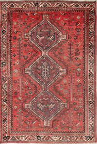 Antique Tribal Shiraz Persian Hand-Knotted 6x8 Wool Area Rug