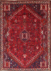 Tribal Geometric Red Lori Persian Hand-Knotted 5x8 Wool Area Rug
