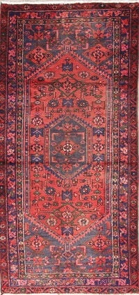 Geometric Red Hamedan Persian Hand-Knotted 3x7 Wool Runner Rug
