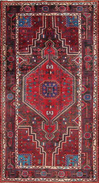 Geometric Red Zanjan Persian Hand-Knotted 4x8 Wool Area Rug