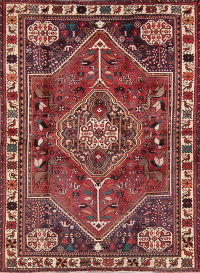 Animal Pictorial Red Shiraz Persian Hand-Knotted 5x6 Wool Area Rug