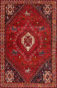 Tribal Geometric Abadeh Persian Hand-Knotted 5x8 Wool Area Rug