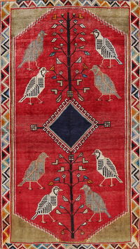 Animal Pictorial Gabbeh Persian Hand-Knotted 4x6 Wool Area Rug