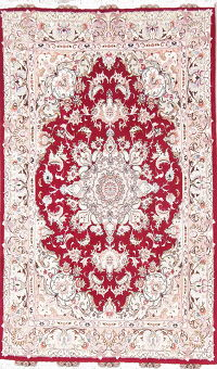 Floral Red Tabriz Persian Hand-Knotted 5x8 Wool Silk Area Rug
