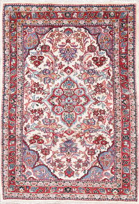 Floral Ivory Mahal Persian Hand-Knotted 4x6 Wool Area Rug