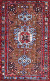 Geometric Brown Hamedan Persian Hand-Knotted 5x7 Wool Area Rug