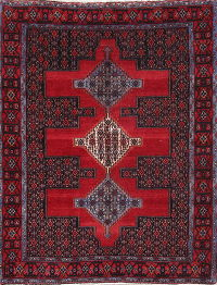 Geometric Red Bidjar Persian Hand-Knotted 4x5 Wool Area Rug