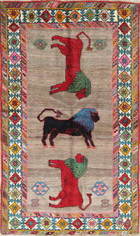 Animal Pictorial Gabbeh Kashkoli Persian Hand-Knotted 4x6 Wool Area Rug
