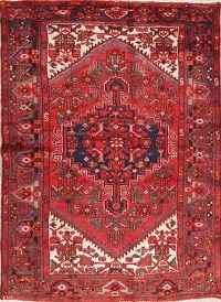 Tribal Red Hamedan Persian Hand-Knotted 4x6 Wool Area Rug