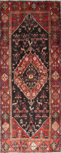 Tribal Geometric Zanjan Persian Hand-Knotted 4x11 Wool Runner Rug