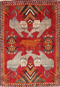 Animal Pictorial Kashkoli Persian Hand-Knotted 4x6 Wool Area Rug