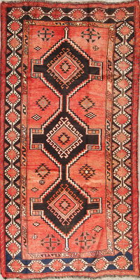 Geometric Rust Lori Persian Hand-Knotted 4x8 Wool Runner Rug