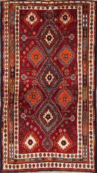 Geometric Shiraz Persian Hand-Knotted 4x7 Wool Area Rug
