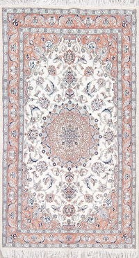 Floral Ivory Nain Persian Hand-Knotted 4x7 Wool Area Rug