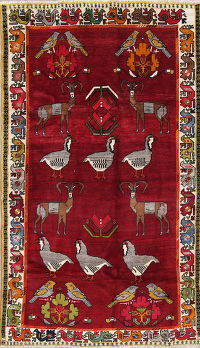 Animal Pictorial Gabbeh Persian Hand-Knotted 4x7 Wool Area Rug