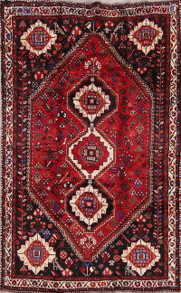 Tribal Geometric Shiraz Persian Hand-Knotted 5x8 Wool Area Rug
