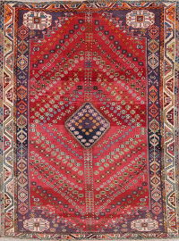 Geometric Red Abadeh Persian Hand-Knotted 6x8 Wool Area Rug
