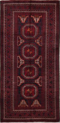 Geometric Red Balouch Persian Hand-Knotted 3x7 Wool Runner Rug