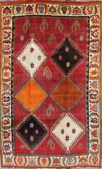 Geometric Red Kashkoli Persian Hand-Knotted 5x8 Wool Area Rug