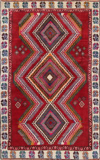Geometric Red Lori Persian Hand-Knotted 4x8 Wool Runner Rug