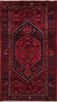 Geometric Red Hamedan Persian Hand-Knotted 5x8 Wool Area Rug