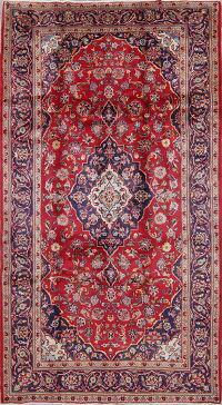 Traditional Floral Kashan Persian Hand-Knotted 5x9 Wool Area Rug