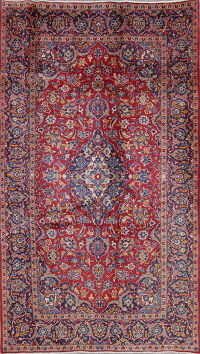 Traditional Floral Kashan Persian Hand-Knotted 5x8 Wool Area Rug