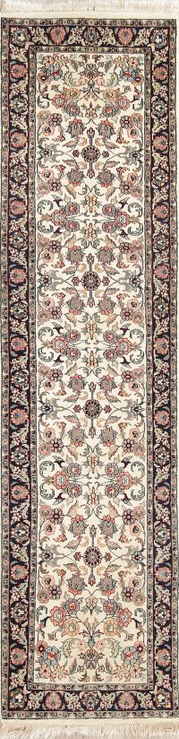 Floral Ivory Agra Indian Oriental Hand-Knotted 3x9 Wool Runner Rug