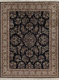 Floral Black Agra Indian Oriental Hand-Knotted 8x10 Wool Area Rug